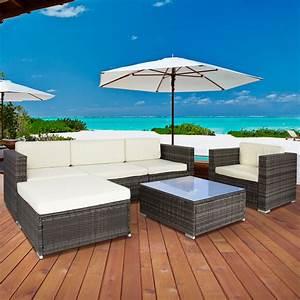 Costway pc rattan patio furniture set garden lawn sofa for Patio furniture covers near me