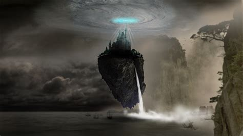 illustration fantasy castle rock waterfall