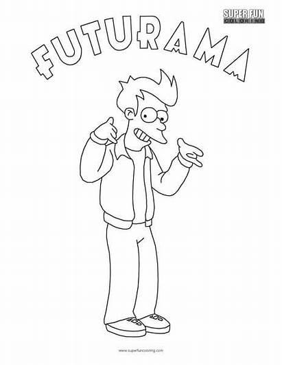 Coloring Futurama Pages Fry Sheets Fun Super