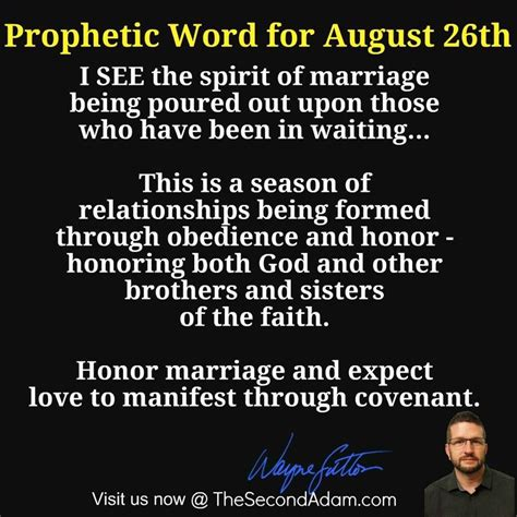 August 26th Daily Prophetic Word Of God  The Second Adam