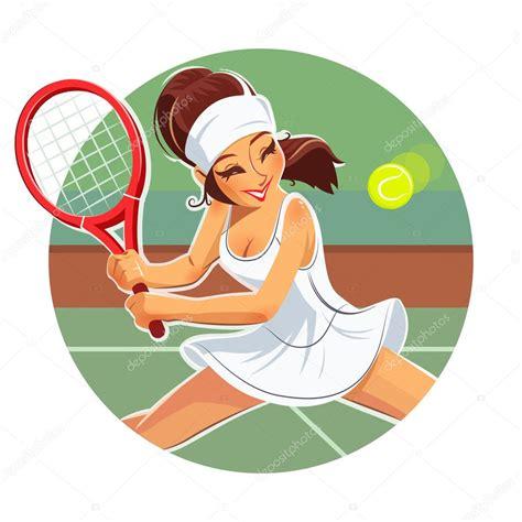 beautiful girl play tennis stock vector  aleksangel