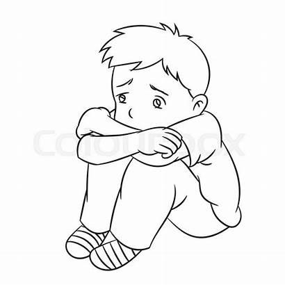 Sad Lonely Boy Cartoon Child Line Vector
