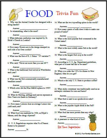 cuisine quiz family has many printable for your