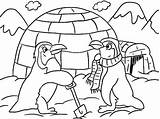 Coloring Igloo Winter Themed Cartoon Penguins Building Sheets Ultimate sketch template