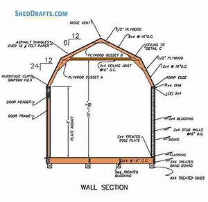 12 U00d716 Gambrel Storage Shed Plans Blueprints For Barn Style