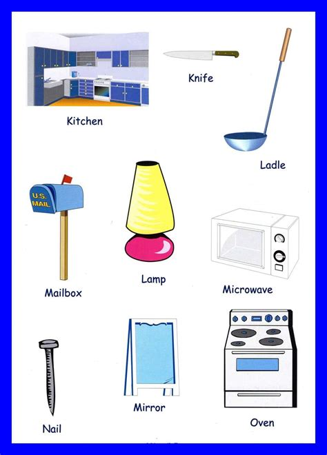 Kitchen Items Vocab by Household Items Vocabulary For