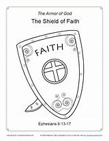 Faith Coloring Shield God Armor Bible Pages Breastplate Righteousness Children Sunday Simple Printable Sundayschoolzone Activity Ephesians Lesson Words Pdf Based sketch template