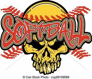 Clip Art Vector of softball skull design with red stitches ...