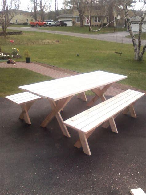 Diy Picnic Table Plans Detached Benches Plans Free