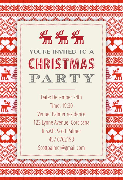sweaters pattern christmas invitation template