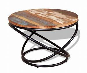 Table Basse Style Industriel : table basse ronde style industriel metal et bois de ~ Melissatoandfro.com Idées de Décoration