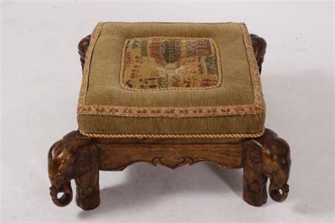 Elephant Ottoman - ottoman on elephant tapestry upholstery