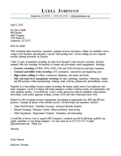 recruiter cover letter sample monstercom