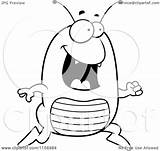 Flea Cartoon Running Happy Clipart Coloring Pages Outlined Vector Thoman Cory Royalty sketch template