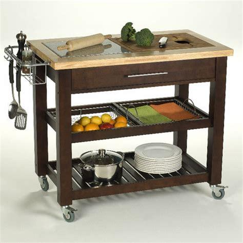 espresso kitchen cart pro chef 40 1 2 w food prep station in espresso 3594