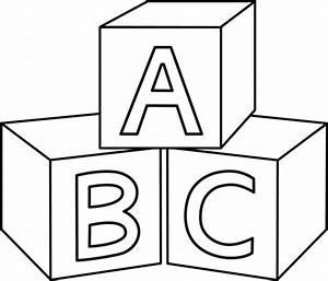 ABC Blocks Coloring Page - Free Clip Art