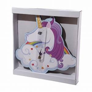 Decoration Licorne Chambre : horloge murale pour chambre fille en forme de licorne sur rapid cadeau ~ Teatrodelosmanantiales.com Idées de Décoration