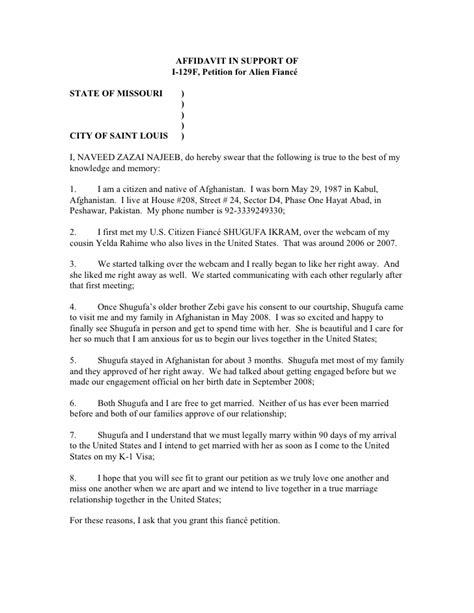 S Ikram Affidavit In Support Of I129 Fiance