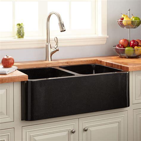 polished granite double bowl farmhouse sink black