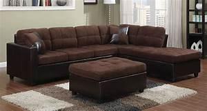 Chocolate microfiber sectional sofa w reversible chaise for Chocolate sectional sofa with ottoman