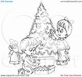 Outline Christmas Tree Coloring Trimming Children Clip Royalty Funny Illustration Quotes Clipart Trimmers Bannykh Alex Quotesgram Without sketch template