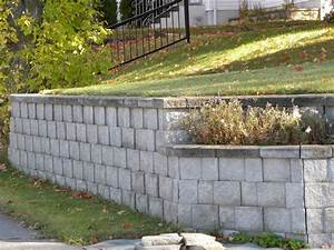 Painted Cinder Block Retaining Wall