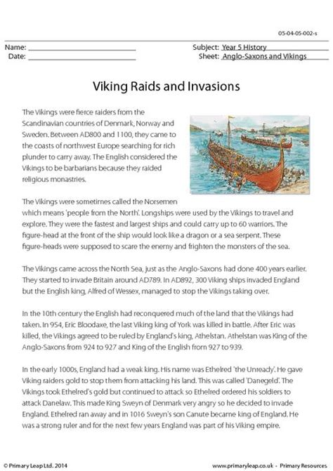 viking raids and invasions reading comprehension