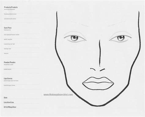 Makeup Face Charts Sketch Coloring Page