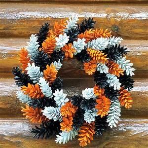Halloween, Pine, Cone, Wreath, Orange, Black, And, White, Wreath