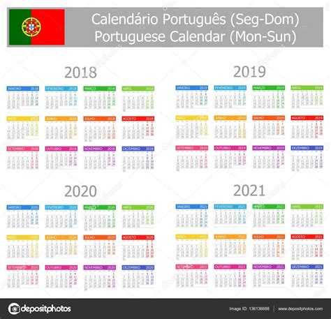 portugues tipo calendar seg dom vetor de stock