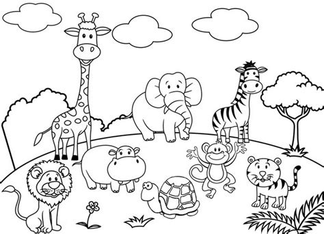 cute cartoon animal set zoo coloring  drawing page