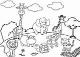 Zoo Coloring Pages Animal Cartoon Drawing Cute Animals Children Six sketch template