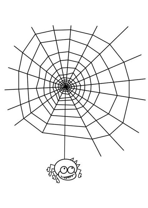 Dibujo para colorear tela de araña con araña - Img 19076