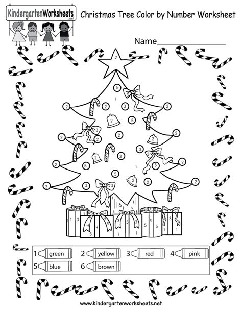 christmas tree coloring worksheet free color by number