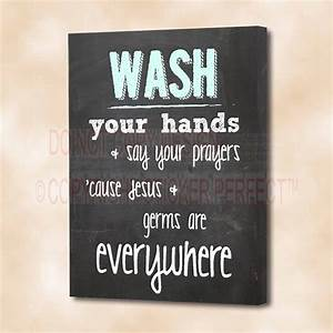 Framed canvas print wash your hands say prayers