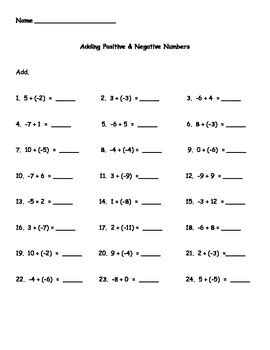 adding positive and negative numbers worksheet by kris