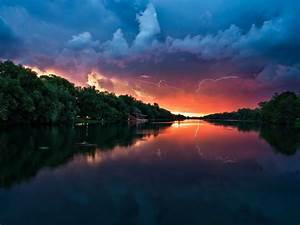 Sunset, Peaceful, River, Coast, With, Green, Trees, Forest, Red