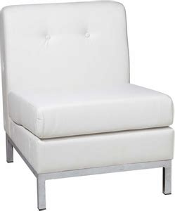 ave six wall armless chair white faux leather