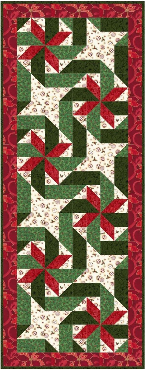 giftwrapped christmas holiday table runner quilt