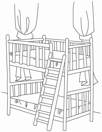 Coloring Bed Bunk Pages Drawing Stair Rodeo