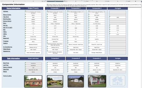 comparative analysis template real estate cma spreadsheet onlyagame