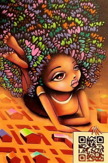 African Graffiti Street Vinie Hair American Afrocentric