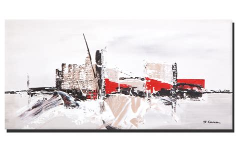 decorer chambre a coucher tableau ville contemporaine gris taupe grand format