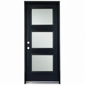 porte en acier a 3 panneaux 34quot droite noir rona With porte de garage et porte intérieure 3 panneaux