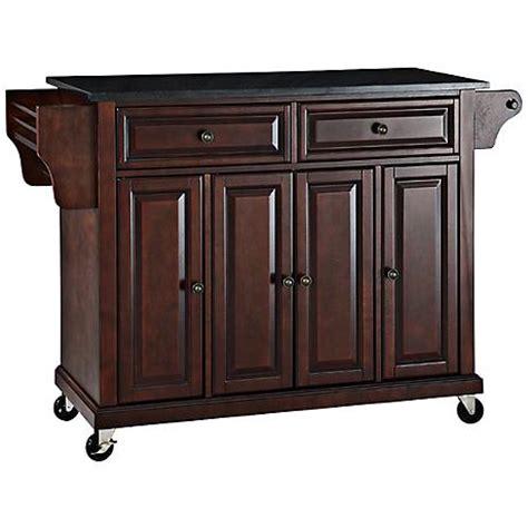 dover black granite top mahogany kitchen island cart