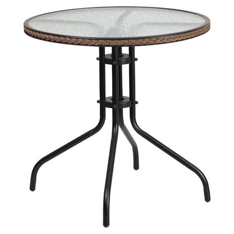 metal table glass top dark brown rattan