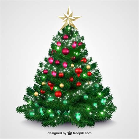 christmas tree with bright baubles vector free download