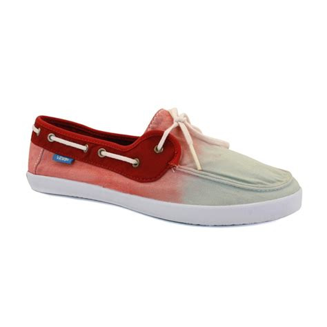 Red Vans Boat Shoes vans chauffette se97ni womens laced canvas boat shoes red