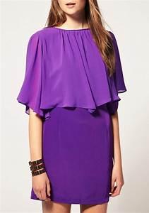 Purple Pleated Round Neck Short Sleeve Polyester Dress ...