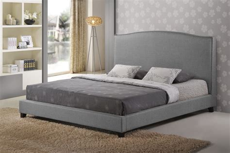 baxton studio king bed aisling gray fabric platform bed king size affordable